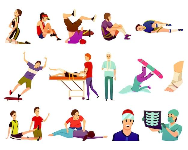 Colección de iconos de colores planos de lesiones deportivas de atletas aislados que sufren de traumas y médicos de medicina deportiva