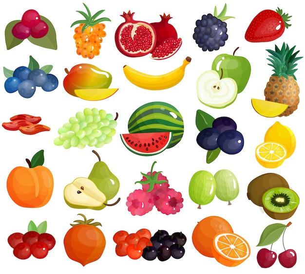 Colección de iconos coloridos de frutas bayas