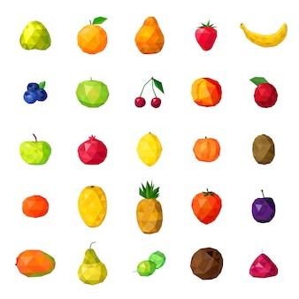 Colección de iconos coloridos poligonales de frutas frescas