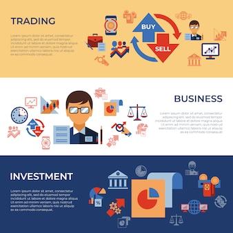 Colección de iconos de comercio y mercados financieros