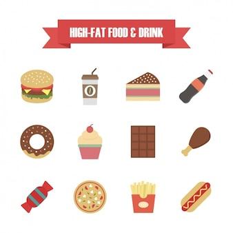 Colección de iconos de comida rápida