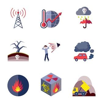 Colección de iconos de contaminación