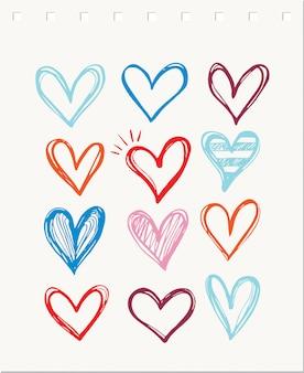 Colección de iconos de corazón, plantilla de símbolos de amor
