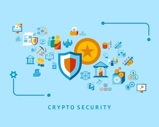Colección de iconos de cripto democracia y seguridad