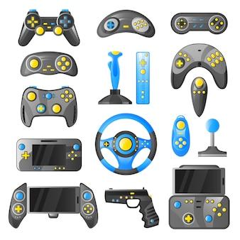 Colección de iconos decorativos de gadgets de juegos