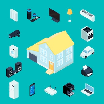 Colección de iconos decorativos isométricos para el hogar inteligente con casa privada en electrodomésticos del centro y elementos electrónicos de administración remota alrededor de una ilustración vectorial aislada