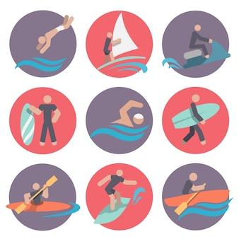 Colección de iconos de deportes de agua
