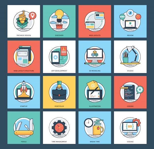 Colección de iconos de desarrollo web y móvil