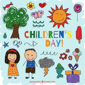 Colección de iconos dibujados del día de los niños
