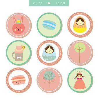 Colección de iconos de dibujos animados con conejo, niña, árbol y muñeca en círculo