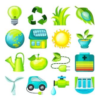 Colección de iconos de dibujos animados ecológicos