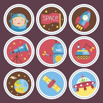 Colección de iconos de dibujos animados de espacio