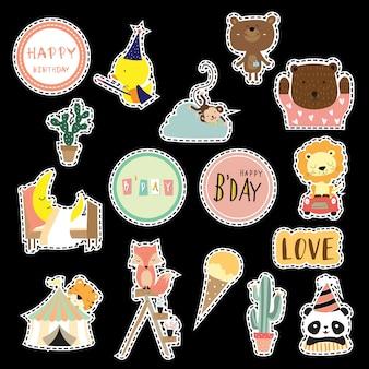 Colección de iconos de dibujos animados con pato, zorro, panda, oso, cactus, tigre, león, mono, luna