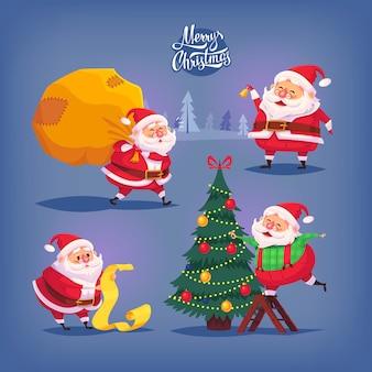 Colección de iconos de dibujos animados de santa claus. ilustración de navidad