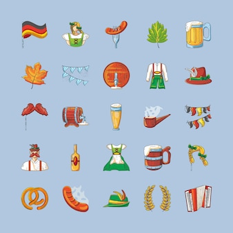 Colección de iconos del diseño de celebración del oktoberfest