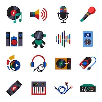 Colección de iconos de diseño de sonido y música.