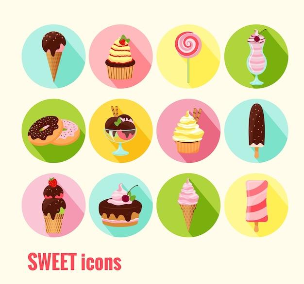 Colección de iconos dulces vectoriales con helado, cupcakes, tortas, donas, helado, batido y polo de hielo con chocolate, cereza y coberturas de glaseado en botones redondos de colores