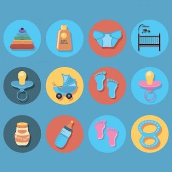 Colección de iconos de elementos bebés