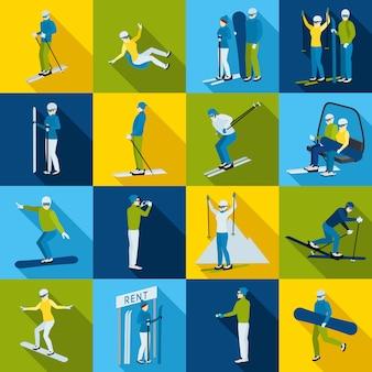 Colección de iconos de la estación de esquí con la gente