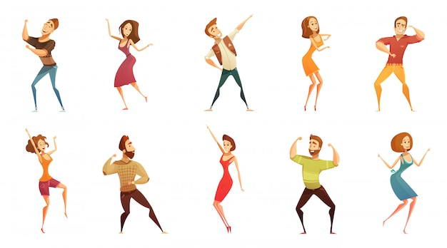 Colección de iconos de estilo de dibujos animados divertidos de personas bailando con hombres y mujeres en movimiento libre plantea aisla