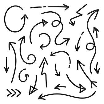 Colección de iconos de flecha aislado. dibujado a mano elemento de diseño de flecha. doodle conjunto negro de flechas. ilustración vectorial