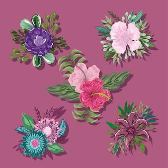 Colección iconos flores hojas follaje naturaleza decoración