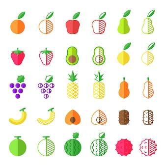 Colección de iconos de frutas planas