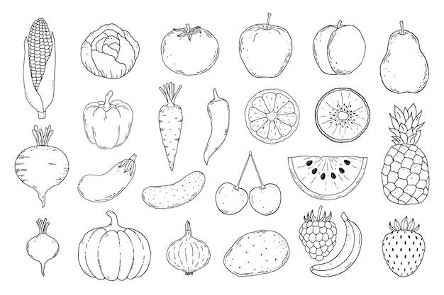 Colección de iconos de frutas y verduras dibujados a mano sobre fondo blanco.