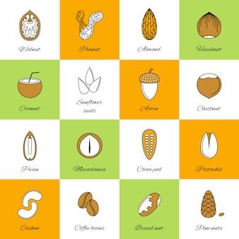 Colección de iconos de frutos secos