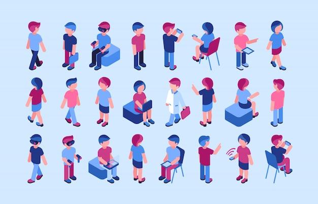 Colección de iconos de gente de negocios y realidad virtual