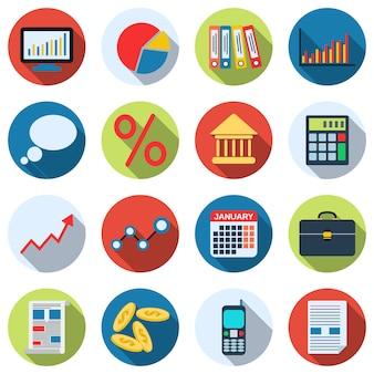 Colección de iconos de gestión empresarial y financiera. diseño plano ilustraciones vectoriales conjunto