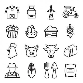 Colección de iconos de granja