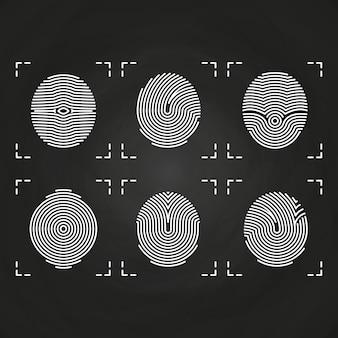Colección de iconos de huellas dactilares blancas en pizarra