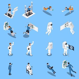 Colección de iconos isométricos de astronautas