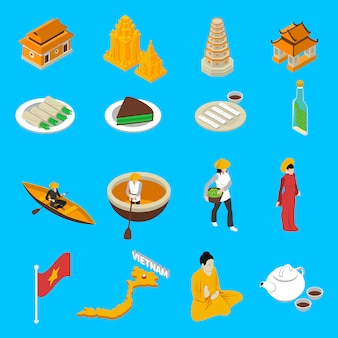 Colección de iconos isométricos de atracciones turísticas de vietnam