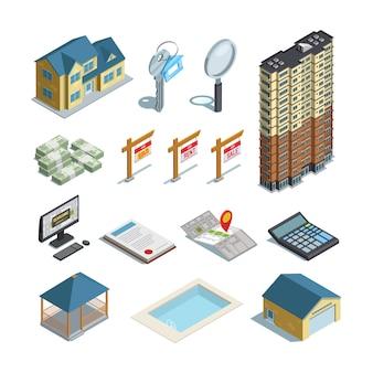 Colección de iconos isométricos de bienes raíces