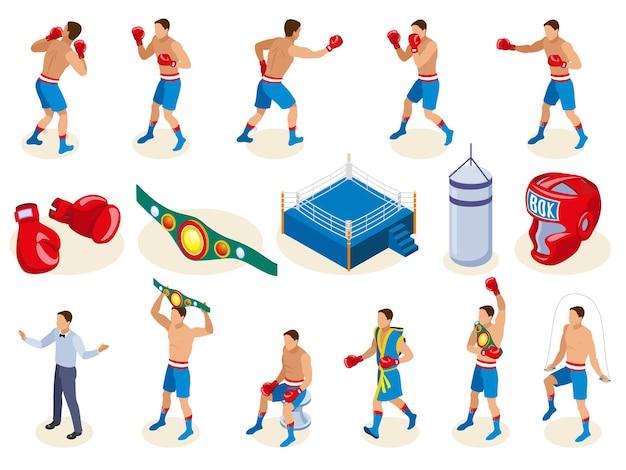 Colección de iconos isométricos de caja con equipo de boxeo aislado y personajes humanos masculinos de atletas