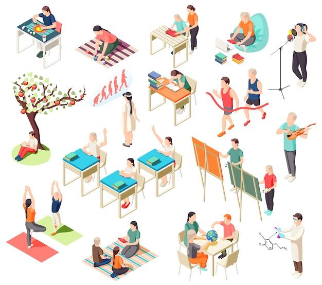 Colección de iconos isométricos de educación alternativa con ilustración aislada de situaciones de escolarización con personajes humanos de alumnos