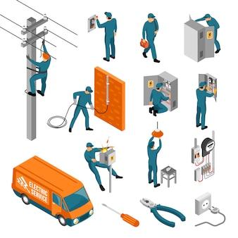 Colección de iconos isométricos de electricista