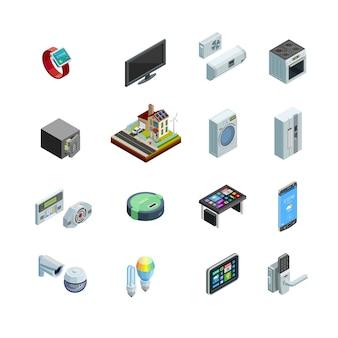 Colección de iconos isométricos de elementos de casa inteligentes