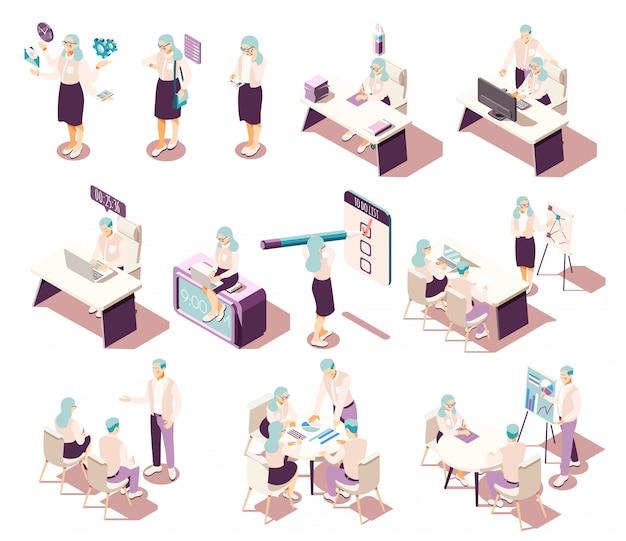 Colección de iconos isométricos de gestión eficaz con muebles de personajes humanos aislados y pictogramas conceptuales con elementos de productividad.