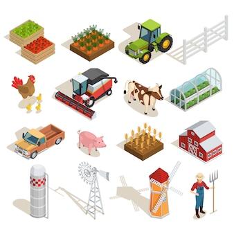 Colección de iconos isométricos de granja