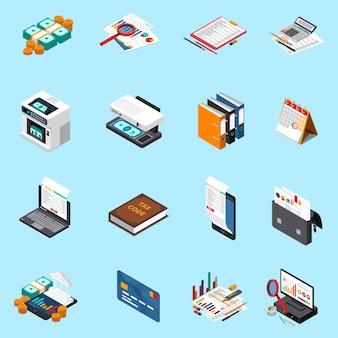 Colección de iconos isométricos de impuestos contables con estados financieros calculadora de tarjeta de crédito máquina contadora de efectivo aislada