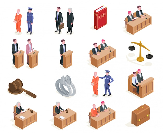 Colección de iconos isométricos de justicia de ley de dieciséis imágenes aisladas con personajes humanos durante la sesión de ilustración de la corte