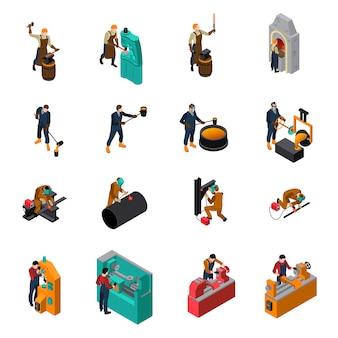 Colección de iconos isométricos de maquinaria metalúrgica herramientas