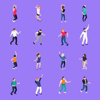 Colección de iconos isométricos de movimientos de personas bailando