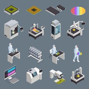 Colección de iconos isométricos de producción de chips semiconductores con instalaciones de alta tecnología aisladas y suministros con caracteres humanos ilustración vectorial