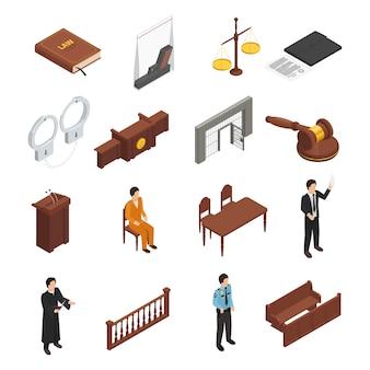Colección de iconos isométricos de símbolos de justicia de ley