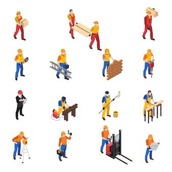 Colección de iconos isométricos de los trabajadores de la construcción de constructores
