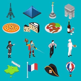 Colección de iconos isométricos de las tradiciones culturales francesas